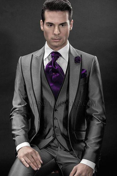Cheap Wholesale 2016 Italian Mens Suits Grey Wedding Tuxedos Jacket Pants Tie Vest Groom Men Groomsmen As Low 854 Also Buy White Tux