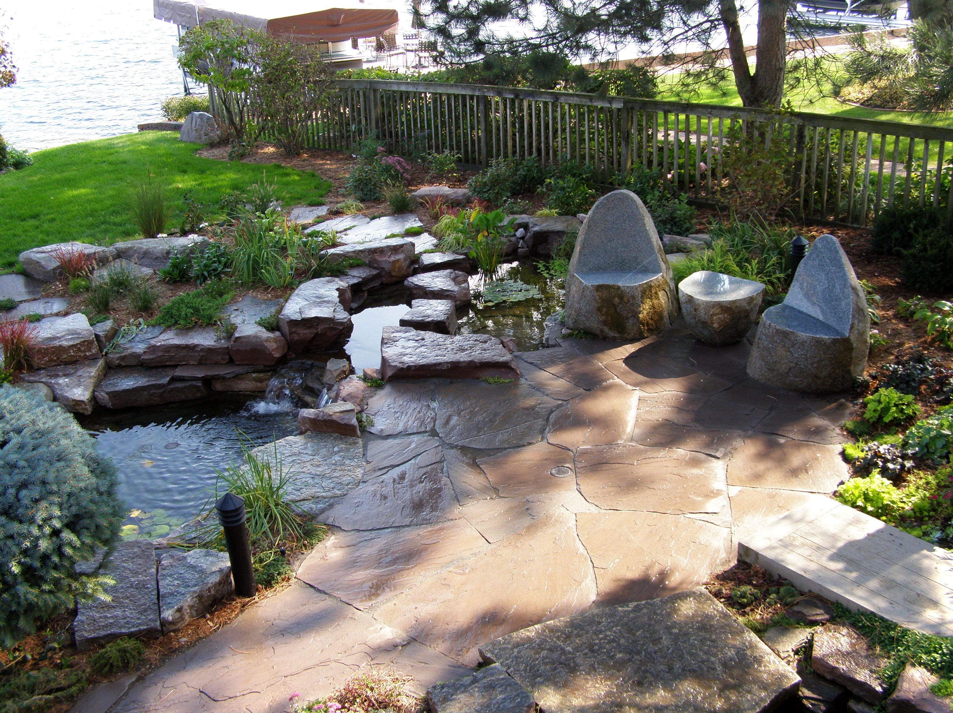 landscaping patio with pond - google search | landscaping ideas ... - Natural Stone Patio Designs