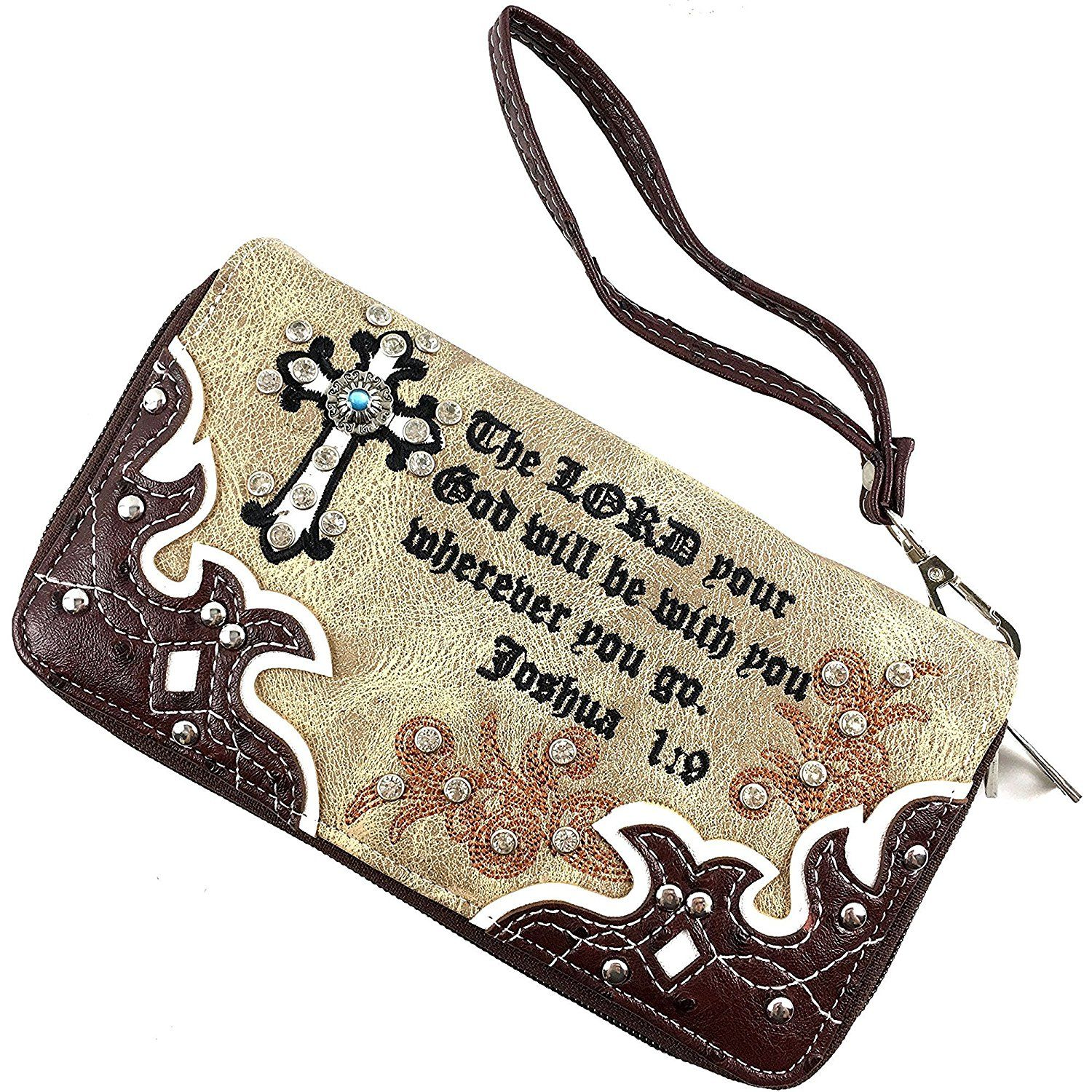 Justin West Western Embroidered Weaved Tooled Crystal Cross Wristlet Zipper Flat Wallet >>> To view further for this item, visit the image link. (This is an Amazon Affiliate link and I receive a commission for the sales)