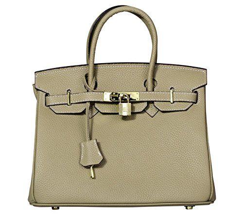 5b5649e59059 VIDENG POLO Padlock Handbags Genuine Leather with Gold Hardware Tote  Shoulder Bag for Women (30-Khaki)