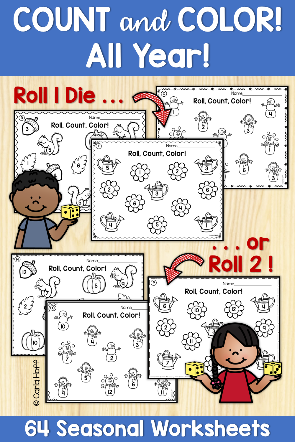 Count And Color Bundle Worksheets For Counting And Adding To 12 Fun Math Activities Fun Math Worksheets