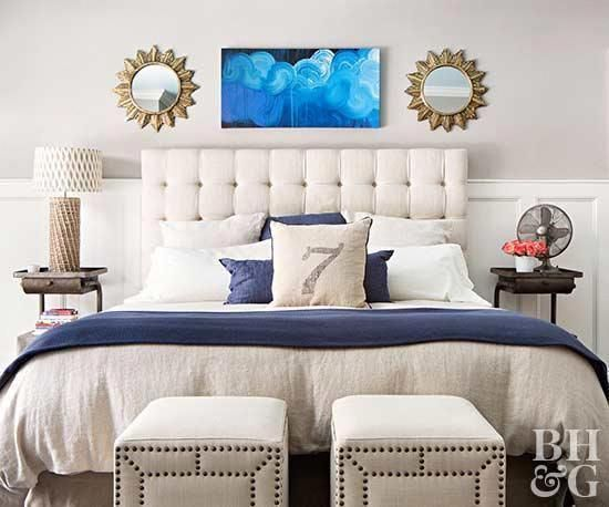 Gray is the name of the game in this neutral bedroom. But rather than looking ha #graybedroomwithpopofcolor