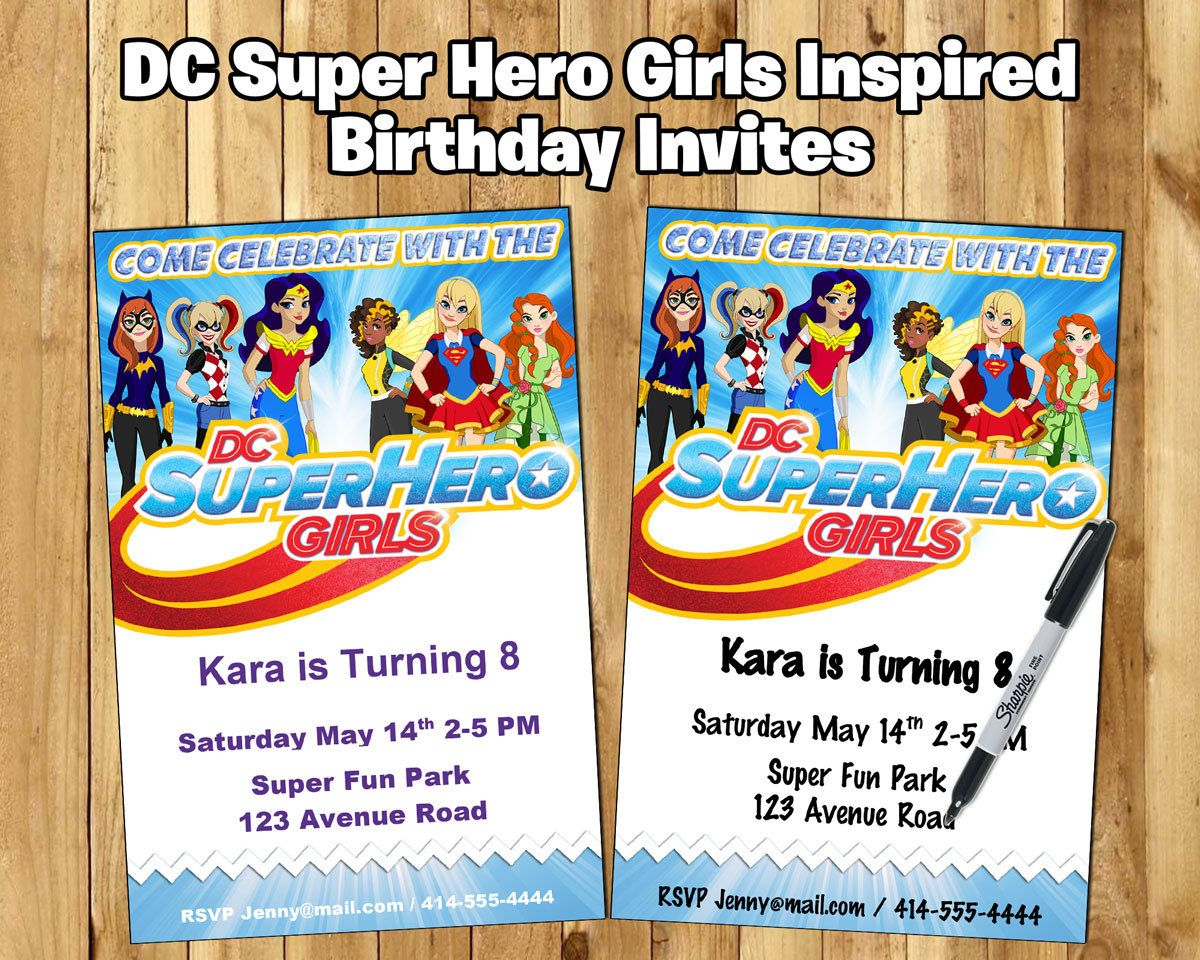 DC Super Hero Girls Inspired Birthday Party Invitation