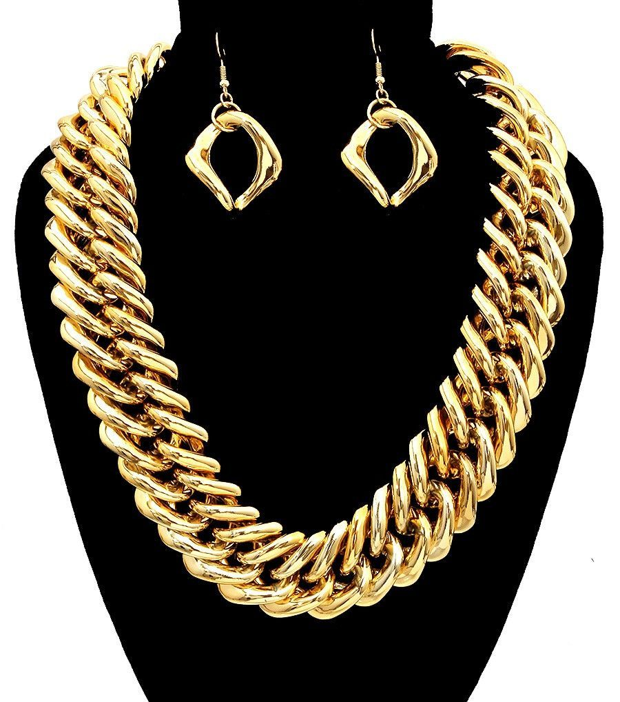 Gold chain link necklace set products