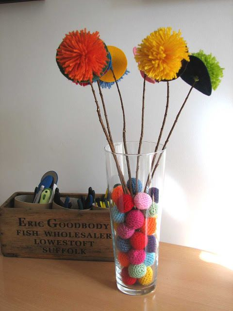 Deshilachado: Tutorial: florero con pompones / Tutorial: pompom vase