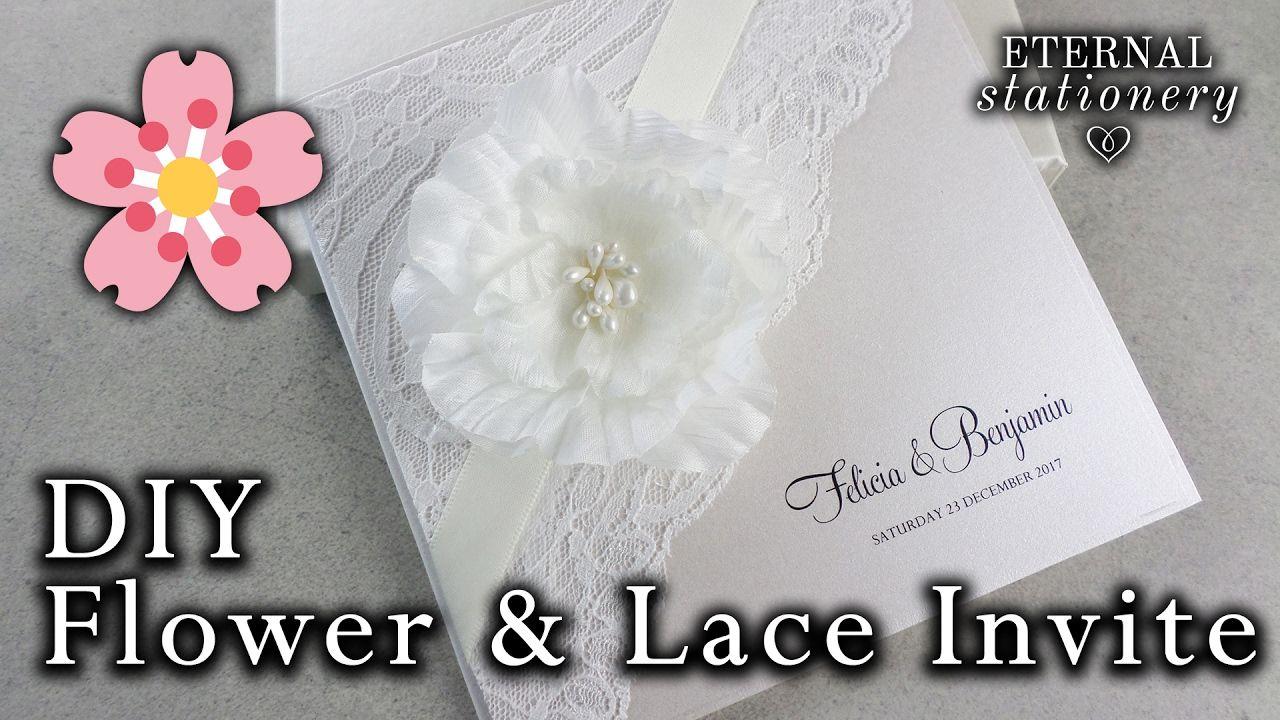 Diy elegant flower and lace invitation wedding invitations easy