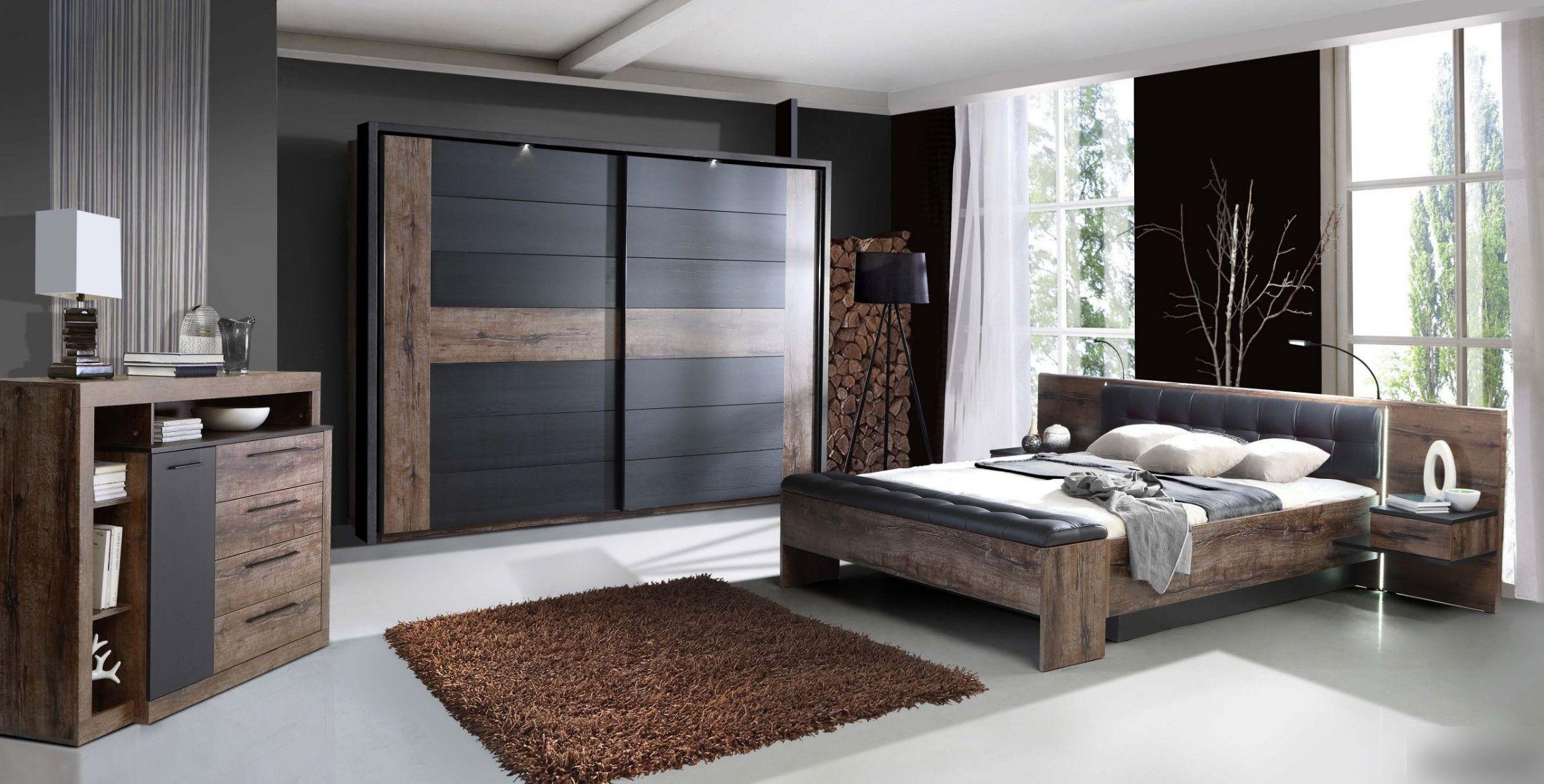 Schlafzimmer Set Mit Bett 180 X 200 Cm Schwarzeiche Woody 77 00735 Holz  Modern