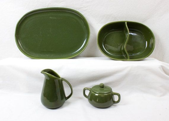 Bauer Brusche Al Fresco 4 Piece Olive Green Serving Lot Vintage California Dinnerware : olive green dinnerware - pezcame.com