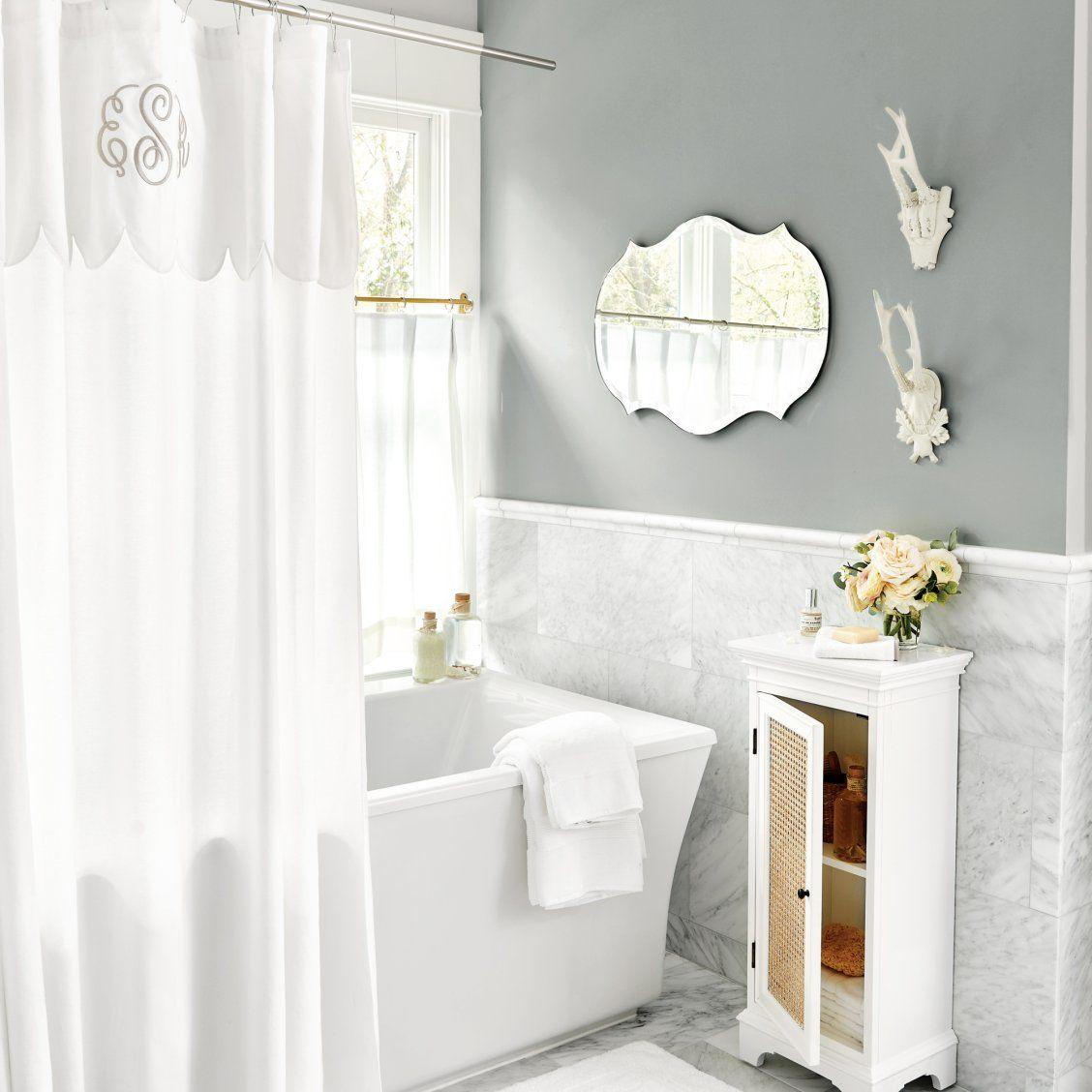 Emma White Scalloped Shower Curtain Beautiful Bathroom Decor