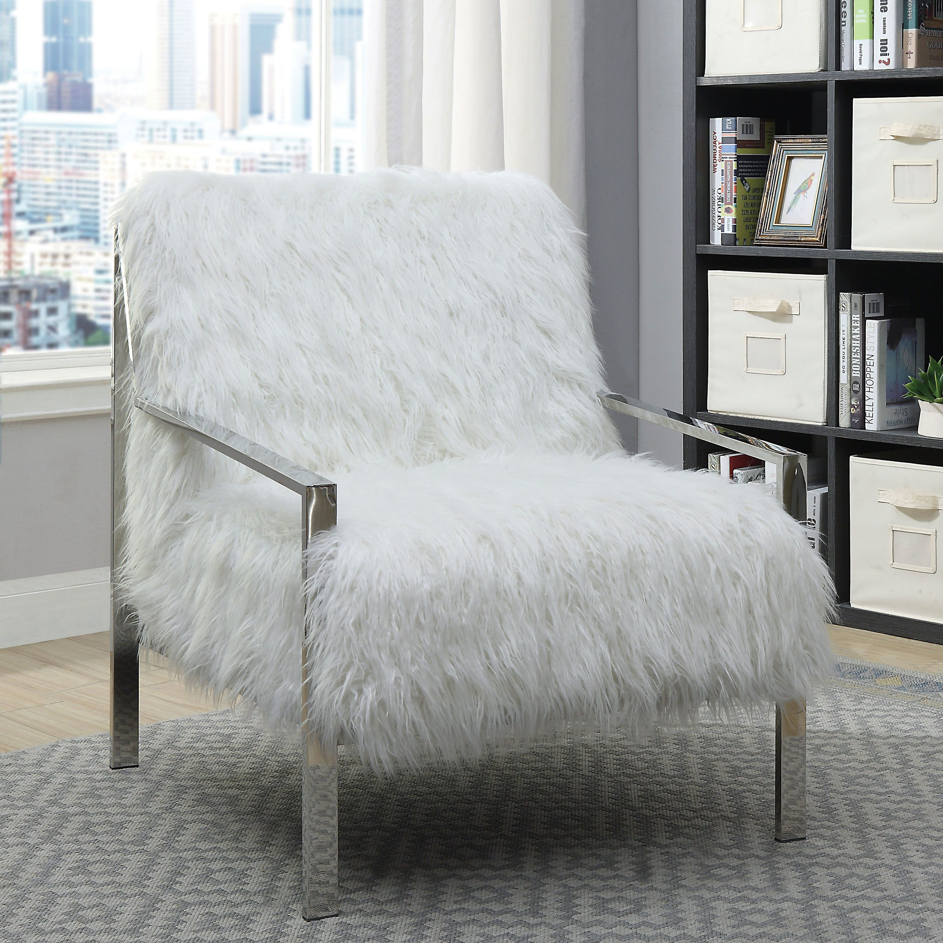America Accent Chairs.Furniture Of America Delta Contemporary Faux Fur Accent Chair Black