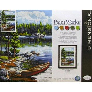 Paintworks By Dimensions Canoe By The Lake Paint By Number