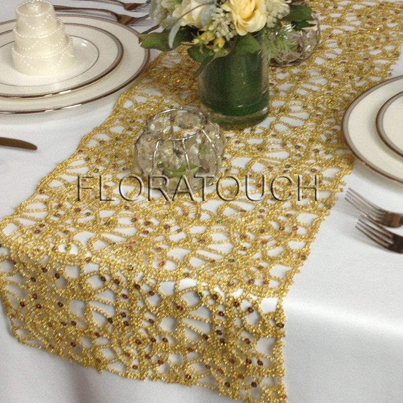 Alice Metallic Lace Sequin Table Runner Wedding By Floratouch 15 00