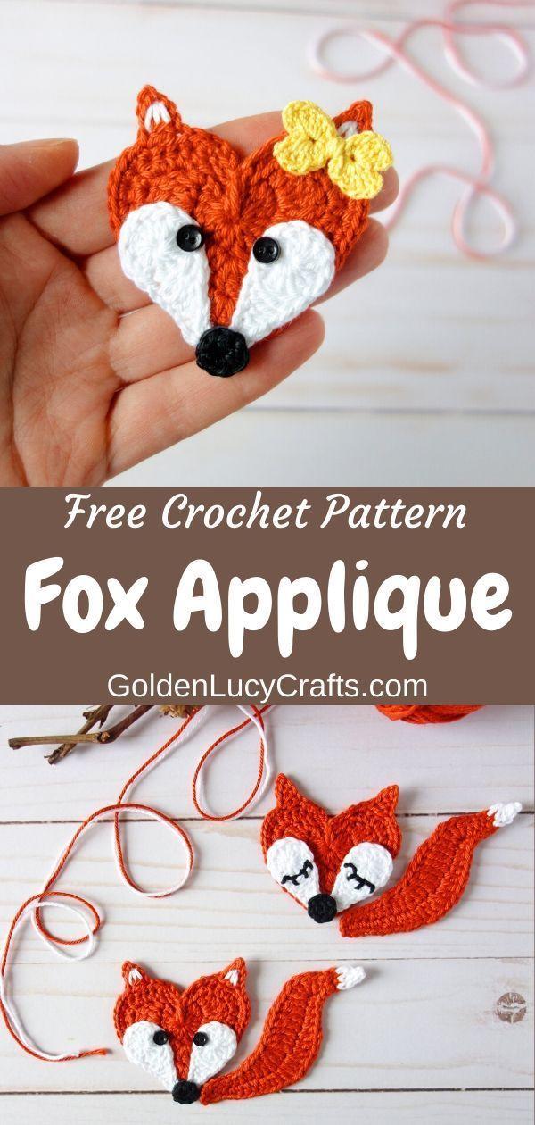 Crochet Heart Fox Applique