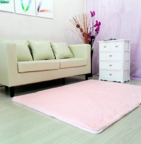 Super Soft Modern Shag Area Rugs Pink Living Room Carpet Bedroom Rug  Washable Rugs Solid Home