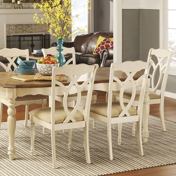 Shayne Country Antique White Beige Dining Chairs (Set Of 2