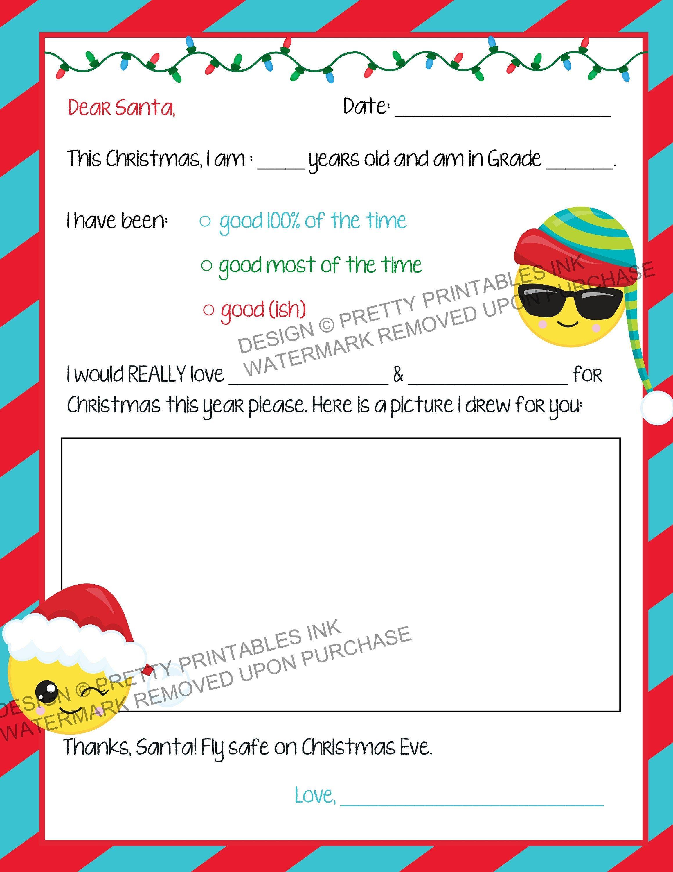 Printable Santa Letter, DIY Letter to Santa Template