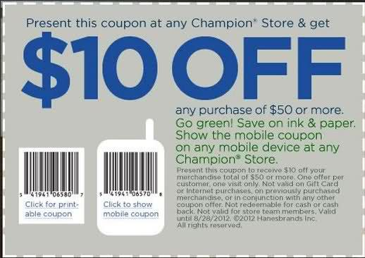 Get 10 Off 50 Or More In Store Printable Champion Coupon