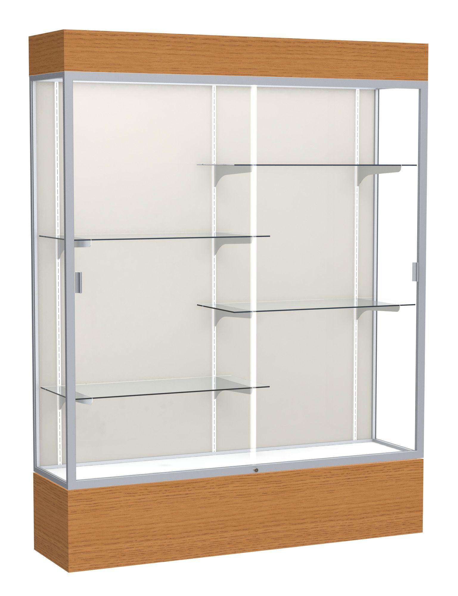 Reliant Series Wood Veneer Lighted Floor Display Case