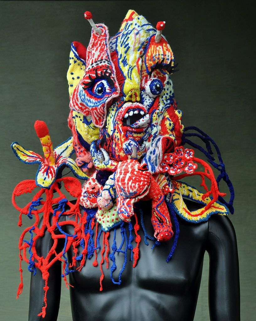 Knitted Mask – a Collaboration Between Brutal Knitting's Tracy Widdess & Stéphane Blanquet #wearableart