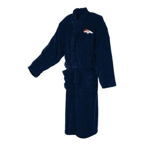 Denver Broncos Men's Plush Bath Robe by Concepts Sport. $57.95. Denver Broncos men's bathrobe. This plush Denver Broncos robe is made of 100% Polyester Coral fleece for a softer feel and features an embroidered logo design on the left chest. Great for lounging around the house, after a hot shower, or over your pajamas for extra warmth on those cold winter mornings. Great gift for any Broncos fan! Machine washable. One size fits most. Go Broncos!
