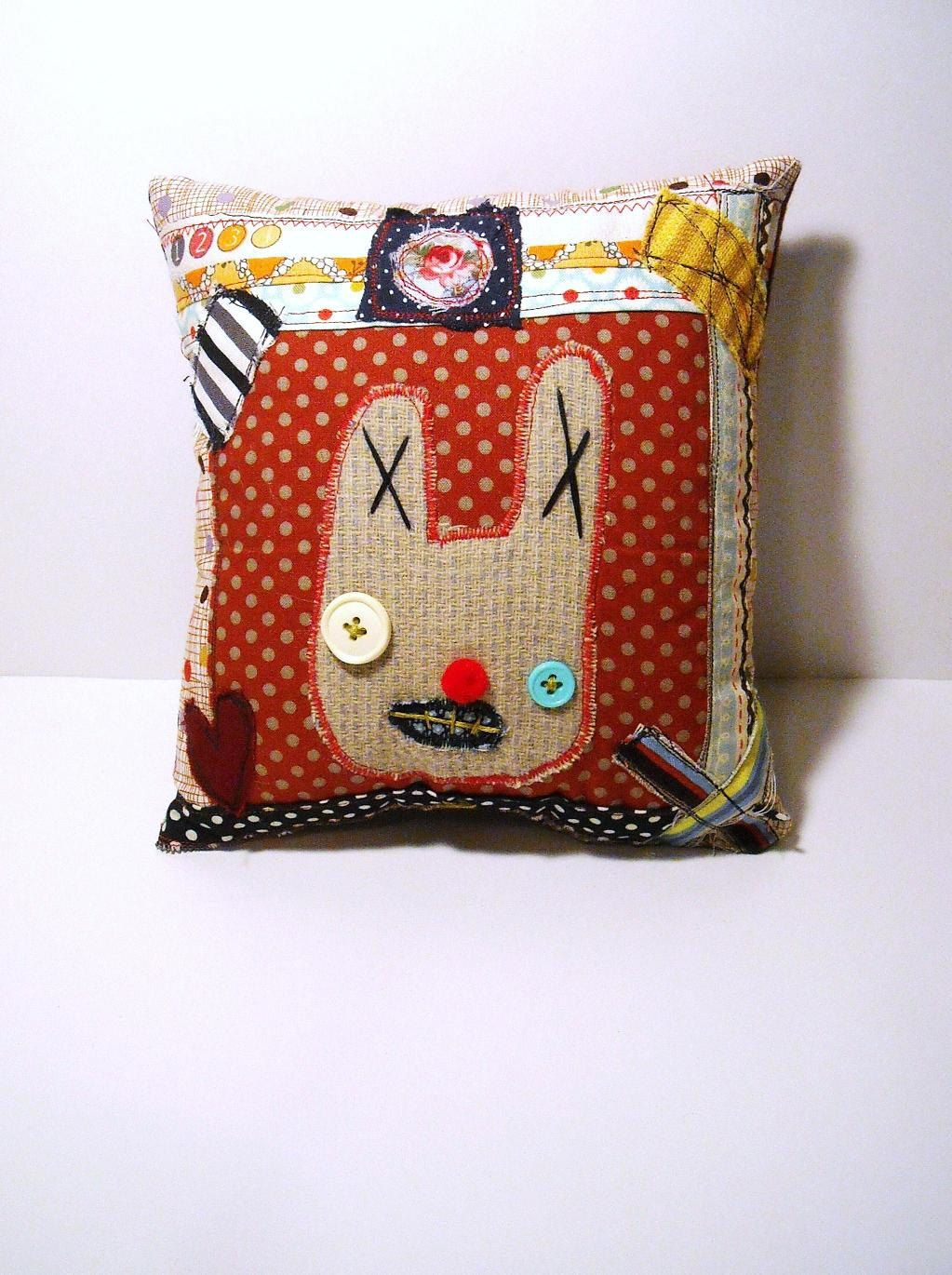 Handmade Art Pillow (Bunny Love ). $25.00, via Etsy.