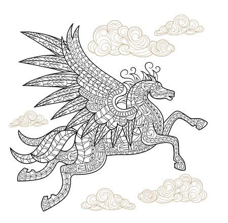 Playful Pegasus Coloring Page Horse Coloring Pages Animal