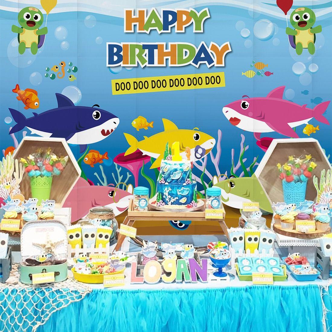 SJOLOON 7X5FT Blue Ocean Shark Birthday Party Backdrop Baby Shark Party Backdrop Baby Shark Banner Photography Backdrops Vinyl Photo Studio Props 11445
