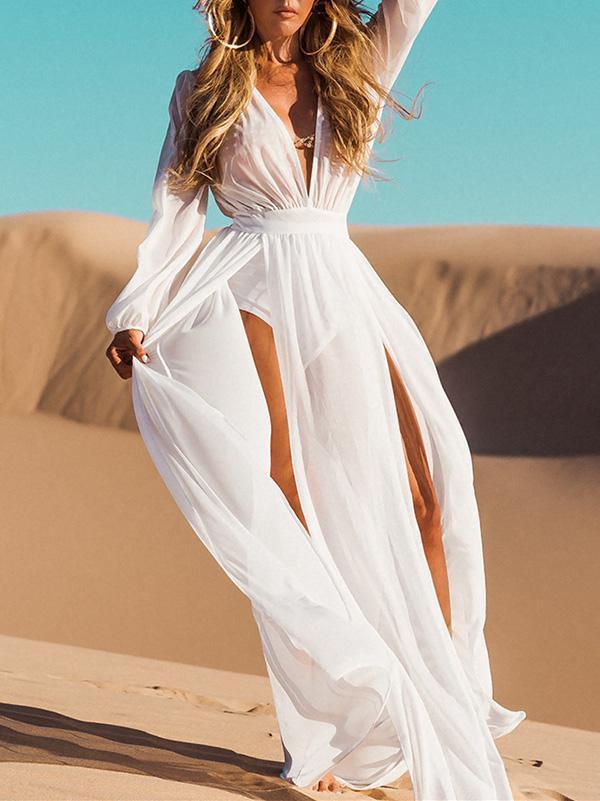 a7d6708bac Beach Kimono Deep V-Neck Split-side White Cover-ups #amazing #life #maxi  #beautiful #shopforselection #clothing #bohemiastyle #dress #cute #style