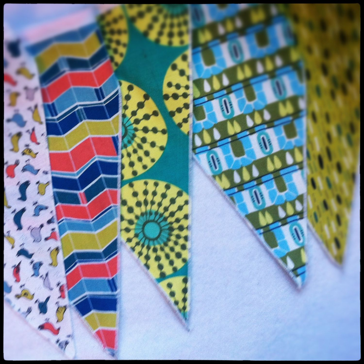 Colorful Bunting  and Free Appliqué for party decoration, boys room, play room, with green, blue, navy fabric. $30.00, via Etsy.