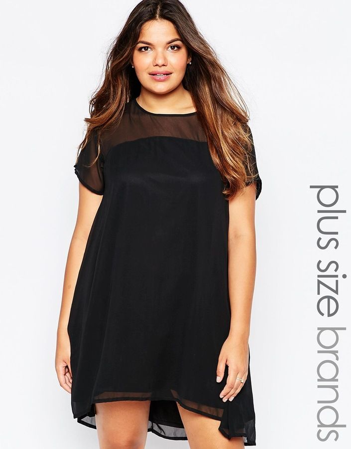 Ax Paris Plus Size Swing Dress Little Black Dress With Sleeves