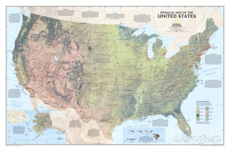 United States Physical Map Posters Map United States Map Wall Maps