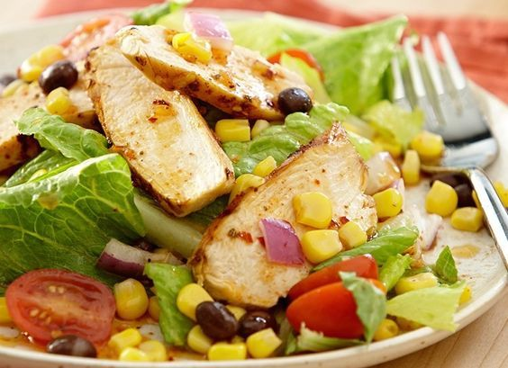 Enjoy this colorful, hearty Southwest Chicken & Black Bean Salad as your main entree!  Pick up the ingredients at your local Fresh Grocer.