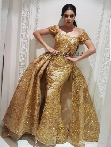 Evening Dresses 2019 Yousef Aljasmi Dubai Arabic Bling Bling Gold Sequins  Lace Prom Gowns Overskirt Detachable Train Mermaid Party Dress 256d90e1a5a7