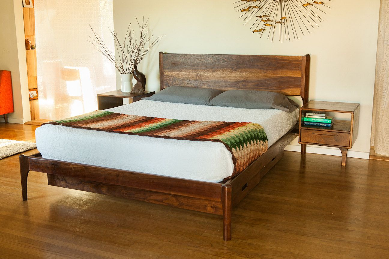 Classic Modern Bed With Storage And Attached Night Stands (Danish Mid  Century Modern Style Bed)