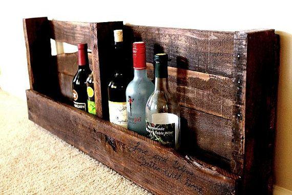 Rustic hand made wine rack pallet wood. $40.00