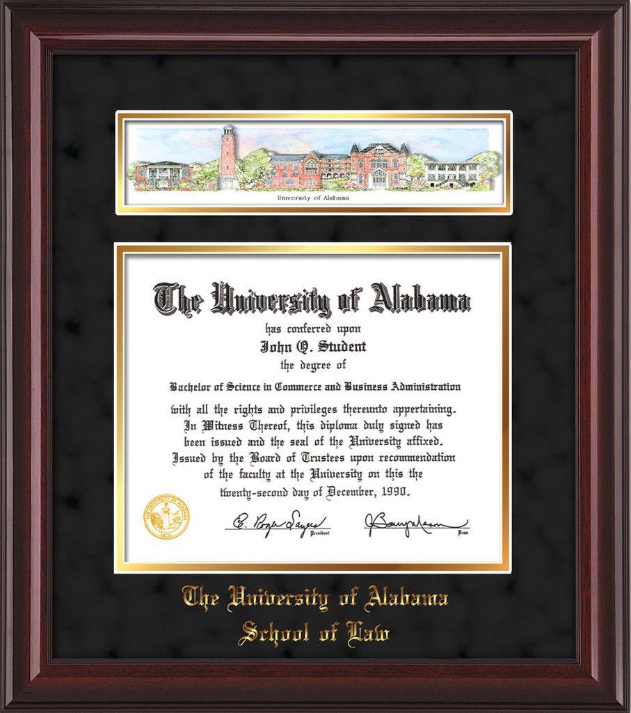 U of Alabama Diploma Frame-Mahoga Lacquer-w/UA Collage-LAW-Black ...