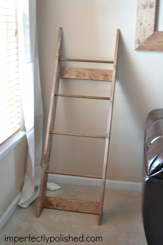 DIY Blanket Rack {Blanket Ladder} | Imperfectly Polished | Snowman ... : how to build a quilt rack - Adamdwight.com