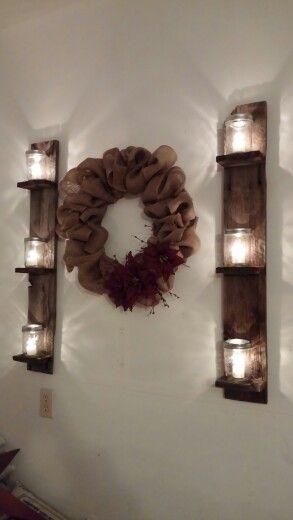 Burlap wreath and mason jar candle sconces