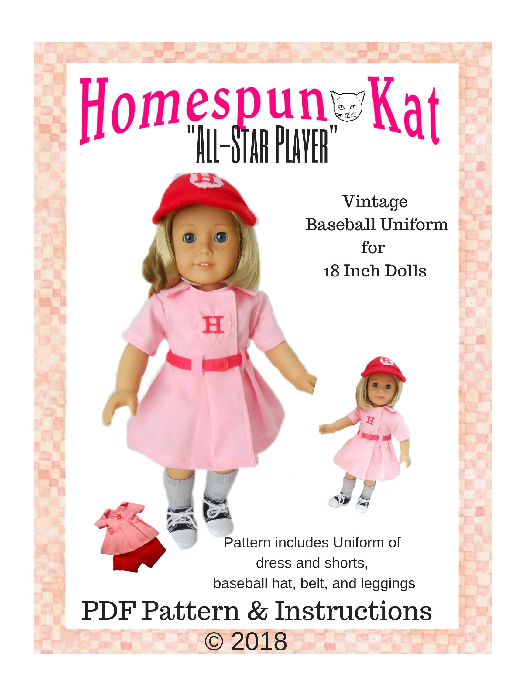 All Star Player Vintage Baseball Uniform 18 Inch Doll Clothes PDF ...