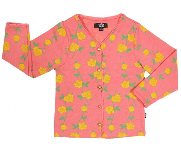 Children's clothing – Pink cardigan with rose print – a unique product by madreperla-outlet on DaWanda