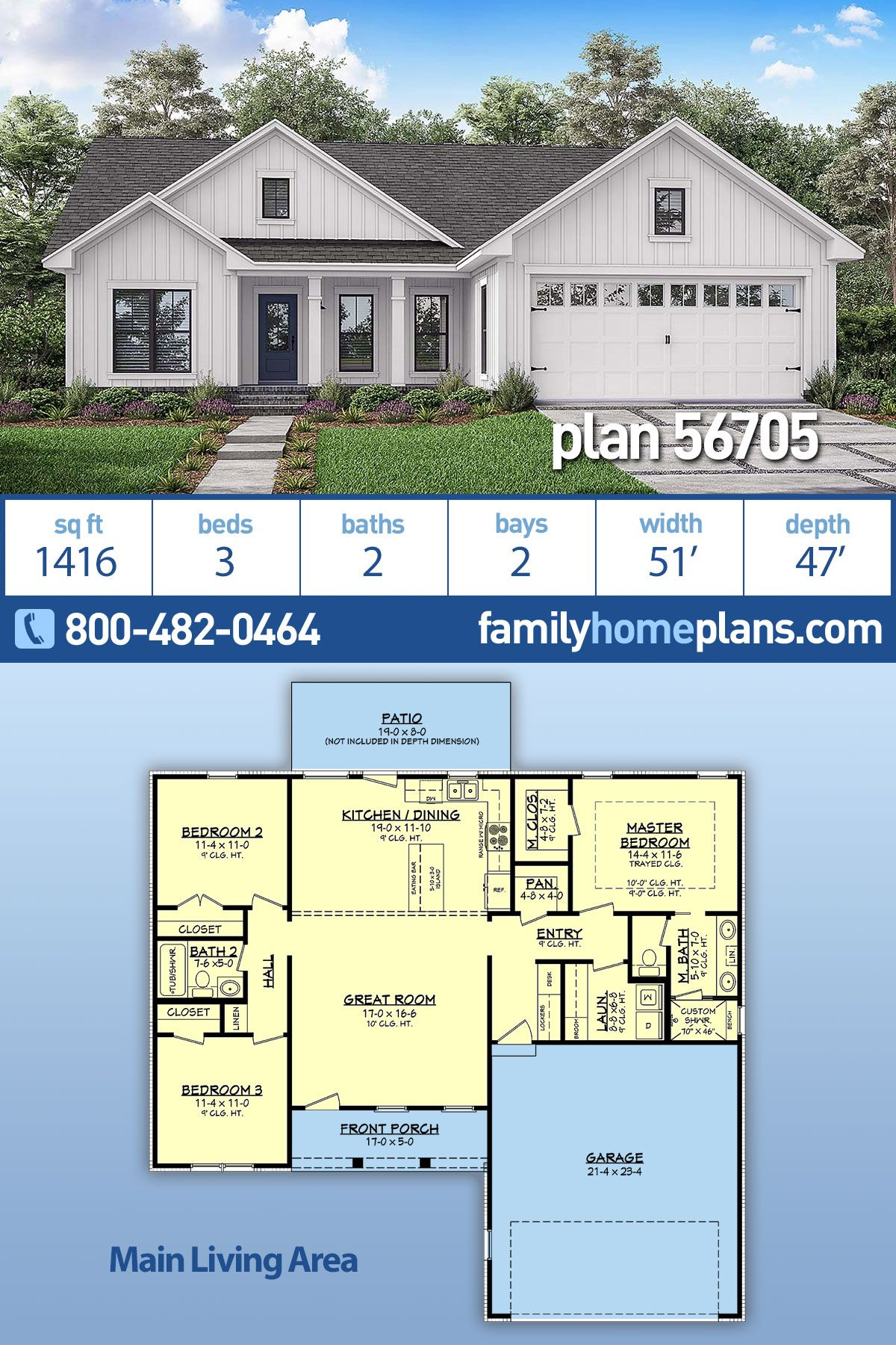 Traditional Style House Plan 56705 with 3 Bed, 2 Bath, 2 Car Garage is part of Country house plan, Family house plans, New house plans, Ranch house plans, House plan with loft, Basement house plans - House Plan 56705  Country, Farmhouse, Traditional Style House Plan with 1416 Sq Ft, 3 Bed, 2 Bath, 2 Car Garage