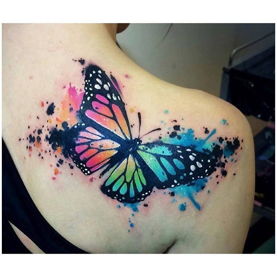 I Love This Tattoo It S A Bit Big For My Liking But I Love Butterfly S Transformation And Color Tattoos Watercolor Butterfly Tattoo Butterfly Tattoo Designs