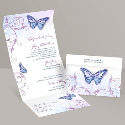 Beautiful Butterflies Seal And Send Invitation Butterfly Wedding Invitations Purple Wedding Invitations Invitations