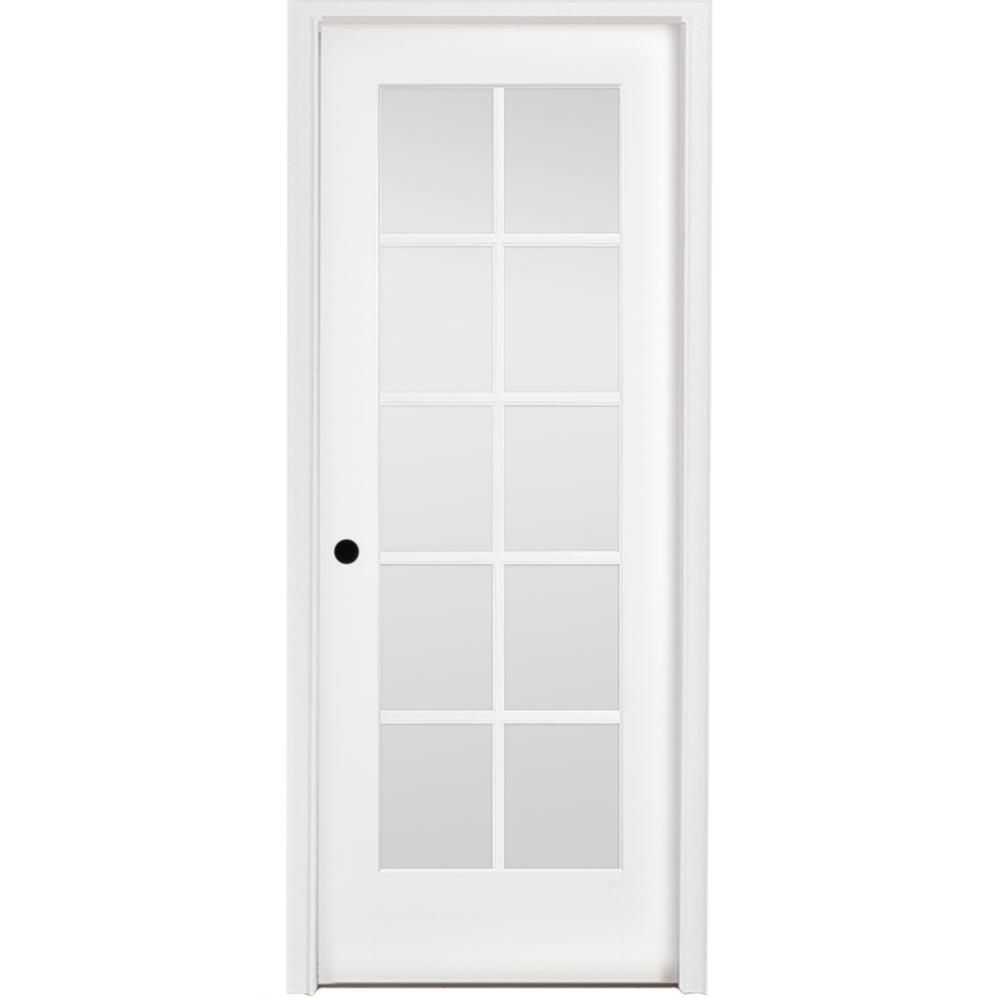 Steves Sons 30 In X 80 In 10 Lite French Unfinished Pine Right Hand Solid Core Wood Single Prehung Interior Door With Nickel Hinge M64n2nnnllrhn Prehung Interior Doors Interior Tall Cabinet Storage