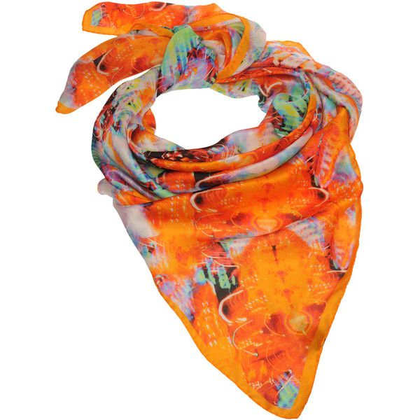 Creative Archives ? Mungo Gurney Silk Scarf with Vegas Lights print... (2 765 UAH) ❤ liked on Polyvore featuring accessories, scarves, аксессуары, silk scarves, orange scarves, orange silk scarves, print scarves and colorful scarves