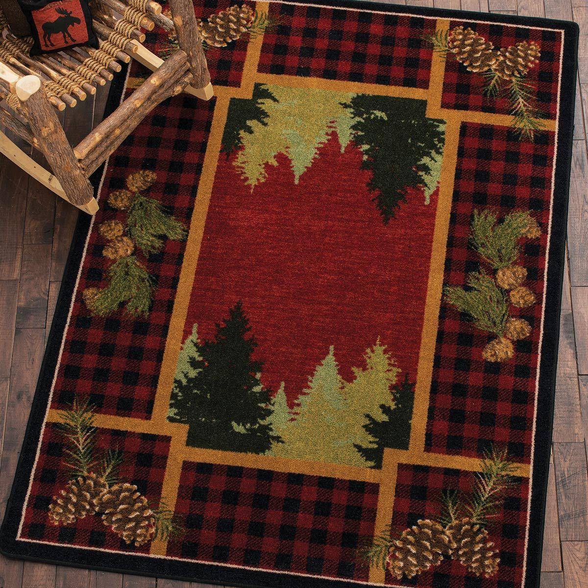 Plaid Woodsman Rug 5 X 8 Black Forest Decor Rugs Cabin Rugs