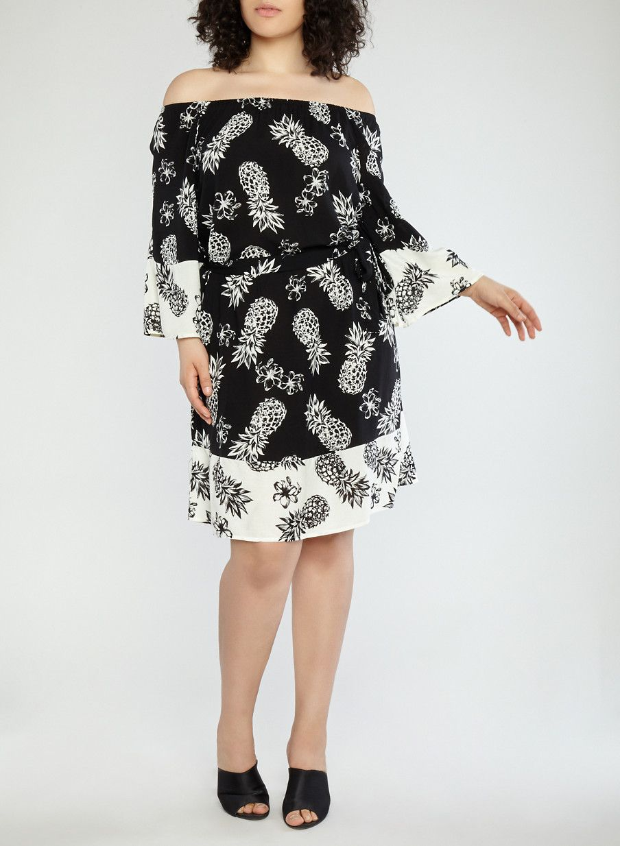 f1dfeef201a Plus Size Pineapple Border Print Off the Shoulder Dress - Black - Size 1X