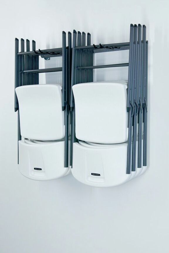 Folding Chair Storage Rack: Wall Mounted Holder. Hang And Organize Up To 10  Chairs.