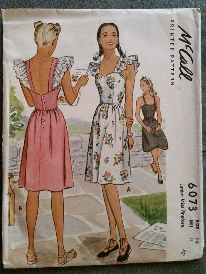 Vintage 1940's McCall's Junior Miss Pinafore Sewing Pattern #6073 s 14 Complete