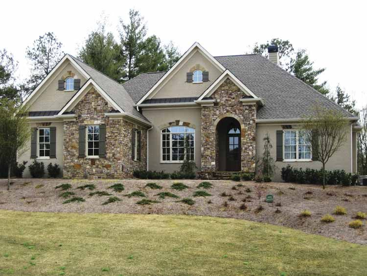 Stucco And Stone Ranch Style House Plans American Houses House Plans